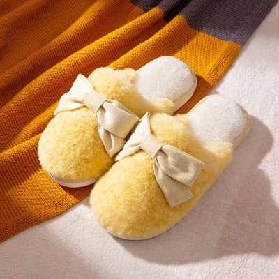 New Winter Cute Bow Fur  Plush House Buttterfly-knot Bedroom Couples Flat Shoes