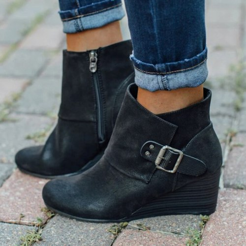 Women's Shoes 2020 Winter Women Ankle Boots Shoes Woman Buckle Wedge Ladies Short Boots PU Leather Zipper Roman Female Footwear