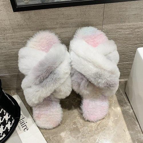 Ladies winter Imitation fur slides home outdoor plush warm slippers cross open toe non-slip rainbow furry