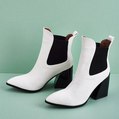 Ankle Boots Ladies Pointed Toe PU Leather Square Heel Shoes Female Fashion Casual Boots