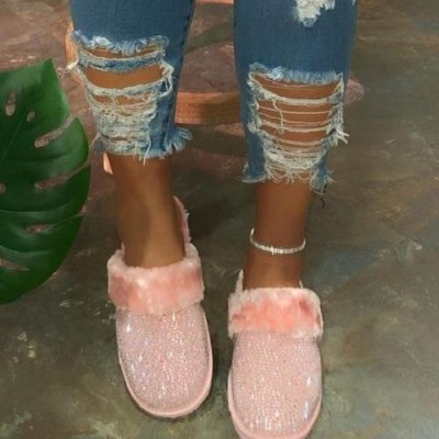 Women Slippers Faux Fur Warm House Slippers 2020 New Fashion Women's Slippers Plus Size Winter Indoor Crystal Flat Home Slippers