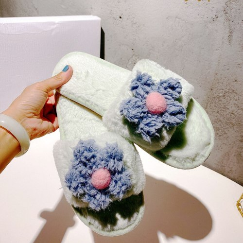 Autumn winter shoes cashmere flowers sweet ladies slippers cute plush home slippers Non-slip furry