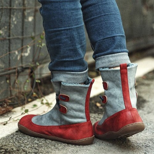 Women's Ankle Boots Warm Shoes Pu Leather Casual Boots Comfortable Footwear