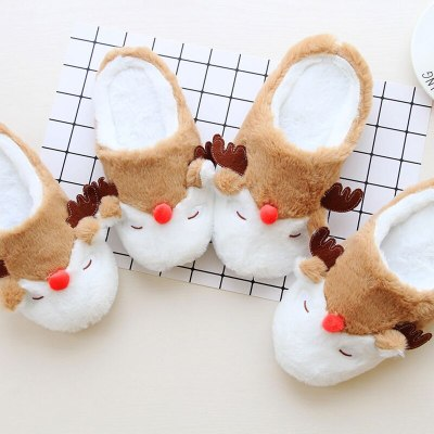 Christmas Gift Indoor Home Shoes Cartoon  Lovers Home Slippers Autumn And Winter Non-Slip Warm Padded Slippers