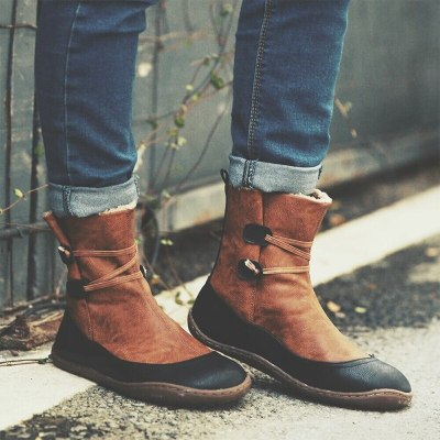 Women's Ankle Boots Winter Warm Plush Shoes Pu Leather Casual Woman Boots Ladies Short Boots Comfortable Female Footwear