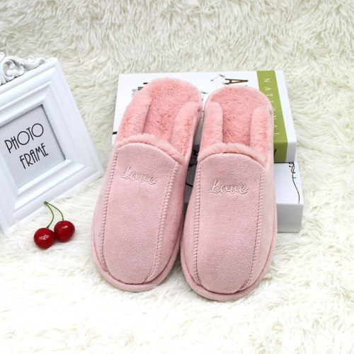 Women Home  Warm Plush Flats Flops Soft Sole Indoor Cotton Slipper
