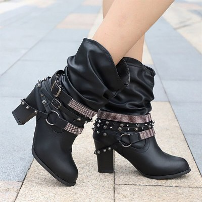 Women Mid Boots Vintage Crystal Rivet Leather Square Heels Winter Boots Casual Belt Buckle Boots Shoes Female Fashion Comfort