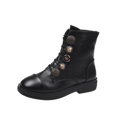 Women Boots Ankle Shoes Winter Autumn Ladies Fashion Lace Up Plaform PU Leather Woman Shoe Zipper 2020 New Female Footwear
