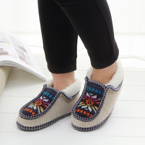Plush Slippers Winter Warm Sun flower Knitted Soft Bottom Cotton Women Slippers