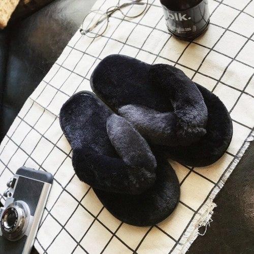 Flip Flops Women Winter Home Slippers Fluffyr Warm Cotton Indoor Floor Shoes