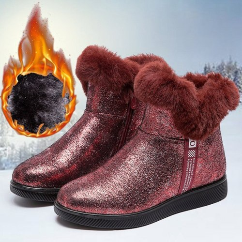 Women Warm Plush Ankle Boots Ladies Short Soft Zippers Boots Woman Female Footwear Bling Comfortable Flat Fashion Shoes Fashion