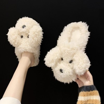Winter Home Slippers Cute Plush Cotton Shoes Female Indoor Shoes  Couples Non-slip Soft Floor Slippers