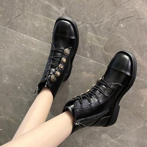 Women Boots Ankle Fashion Lace Up Plaform PU Leather Shoe Zipper Footwear