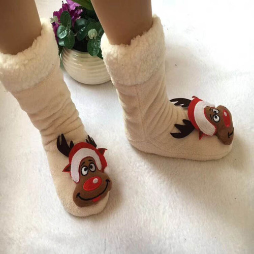 Winter Cartoon Christmas Socks Plush Warm Winter Home Indoor Shoes Women Slipper