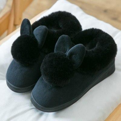 Autumn Winter Cotton Slippers Fur Rabbit Home Cute Women Warm Plush Slipper Shoes