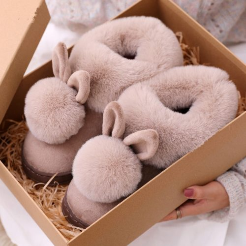 Autumn Winter Cotton Slippers Fur Rabbit Home Cute Women Warm Plush Slipper Shoes