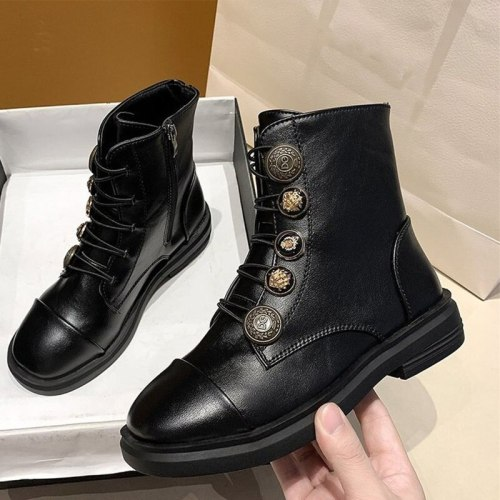 Women Boots Ankle Fashion Lace Up Plaform PU Leather Shoe Zipper Footwear
