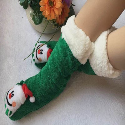 Winter Cartoon Christmas Socks Plush Warm Winter Home Indoor Shoes Women Slipper