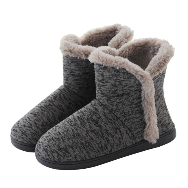 Home Slippers Warm Cotton Faux Shoes Male Comfortable Furry Flats