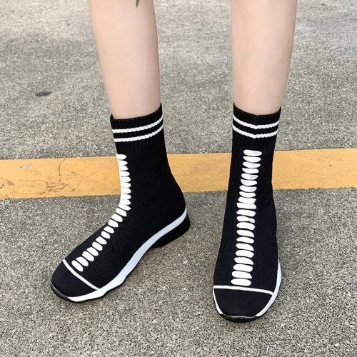 Women's Ankle Boots Knit Mesh Sock Shoes Woman Slip On Low Heel Comfort Ladies Boot Female Casual 2020 Autumn Plus Size 35-43
