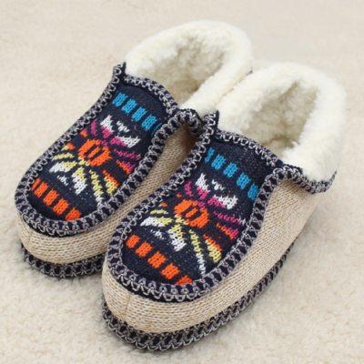 Plush Slippers Winter Warm Sun flower Knitted Soft Bottom Cotton Women Slippers