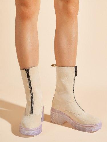 New arrivals Best Quality Clear Heels Platform Autumn Winter Women Boots Shoes Fashion Front Zipper Leisure Boots Shoes