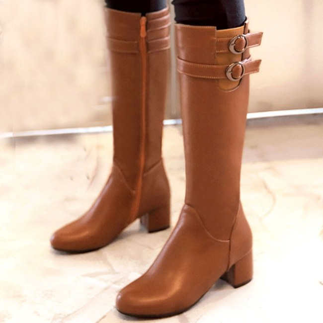 On Sale Big Size 43 Walk It Cosily Wearing Classic Square Heels Over Calf Winter Boots Shoes Women