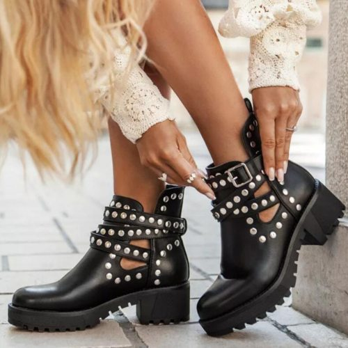 Platform Square Heels Fashion Ankle Boots Shoes Women Cool Style Motorcycles Boot