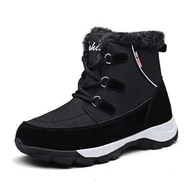 leather waterproof non-slip boots women thick plush winter warm snow boots woman cotton padded platform shoes 42