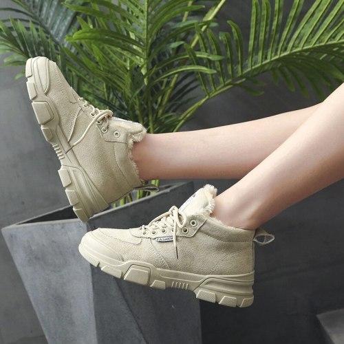 2020 Martin Boots Women Autumn and Winter New Korean Cotton Shoes Plus Velvet Snow Boots