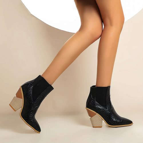 Snake Leather Ankle Boots Pointed Toe Wedges Western Cowboy Boots Winter Shoes Short Inside Plush Boots Shoes Women