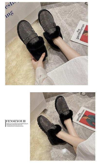 2020 New Crystal Warm Snow Boots Women Flats Heel Colorful Rhinestones Diamonds Winter Plush Fur Shoes Woman