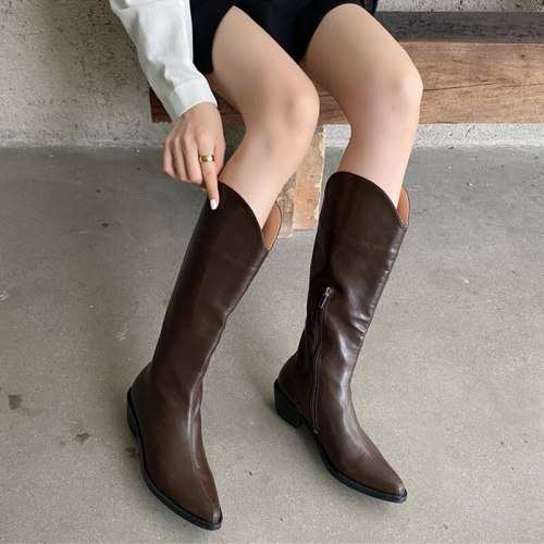 Western Cowboy Boots Pointed Toe Vintage BootsThick Bottom Boots Autumn Winter Boots Non-Slip Fashion Shoes Women Black