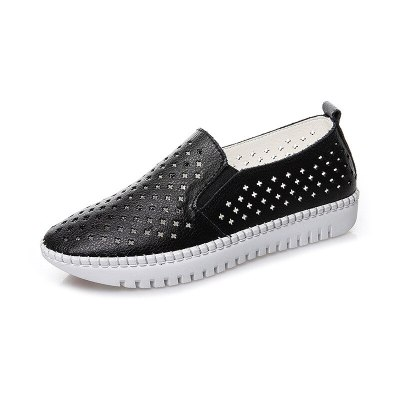2020 Summer Women Flats Shoes Woman Genuine Leather Loafers Slip On Ballet Flats Breathable Walking White Sneakers