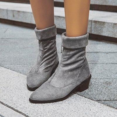 Chunky Heels Slip On Elastic Elegant Trendy Booties Office Lady Boots Shoes Women