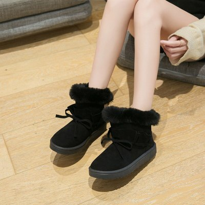 Casual Women's Fashion Sneakers Solid Winter Warm Ankle Boots Flat Snow Boots