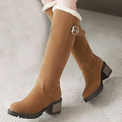 Skidproof Rubber Sole Chunky Heels Keep Warm Snow Boot Winter Boots Shoes Women