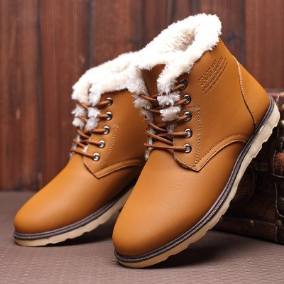 Winter Men's High Upper Board Shoes Furry Heating Tool Boots Leisure Shoes Classic Pairs Winter Boots
