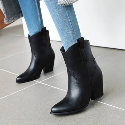 Chunky High Heels Slip On Vintage Booties Winter Western Boots Shoes Women