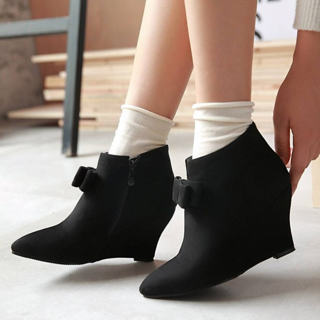 High Heels Sweet Bow Tie Pink Green Walk This Way Wedges Heeled Boots Shoes Women Booties