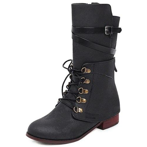 Wearable Shoelaces Vintage Design Calf Boot Fashion Cool Boots Shoes Women
