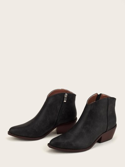 Women's Leather Ankle Bootie Platform Low Heel Casual Boot Comfortable Pointed Toe Stylish Western Cowboy Booties