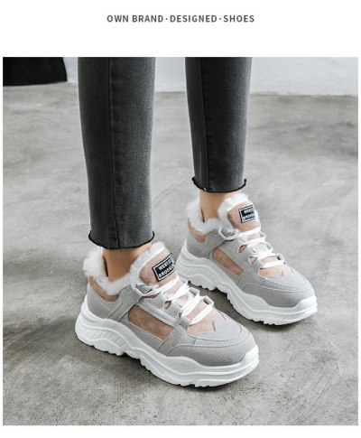 Women's Winter Sneakers 2020 Students Fleece Platform Shoes Platform Running Sneakers Cotton Padded Shoes For Girls