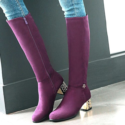 Square Heels Purple Green Add Fur Winter Knee Boots Shoes Women