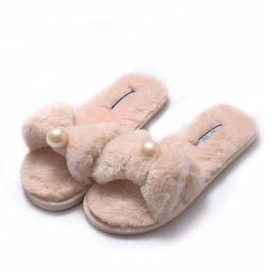 Winter Woman Furry slippers Slip on Luxury Fur Warm Shoes non-slip home Slides Bow pearl Flats Female Comfortable House Shoes