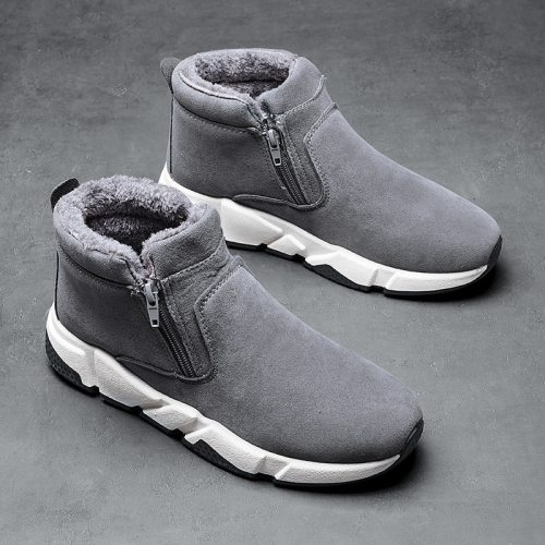 Men Boots 2020 New Winter Brushed Thick Warm High Top Cotton-Padded Shoes Snow Boots Warm Men  Casual Shoes