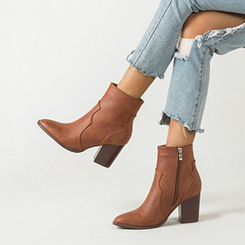 2020 Autumn Winter Motorcycle Western Cowboy Boots Women Soft PU leather Short Cossacks High Heels High top Ankle Booties Shoes