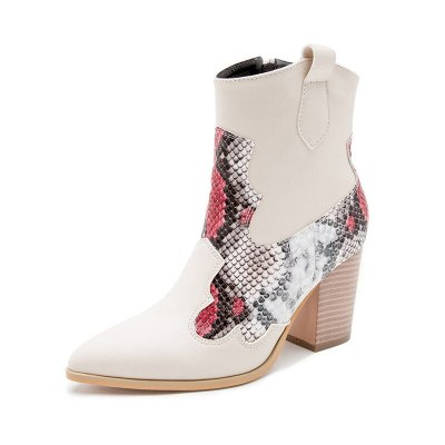 Women's Shoes Cowboy Boots High Heel Short Boots Shoes Round Toe Ankle Boots Shoes