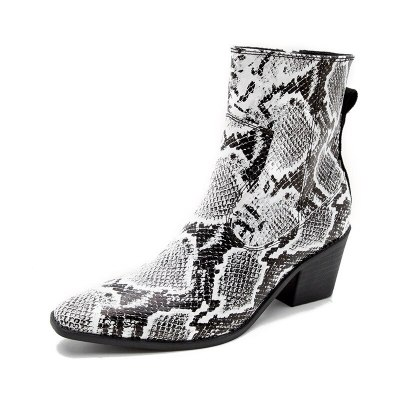 Leather Western Cowboy Boots Women Boots High Heels Ankle Shoes Lady