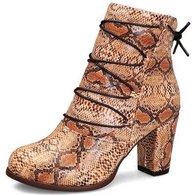 High Heels Snake Veins Heeled Boots Shoes Women Elegant Office Ladies Ankle Booties